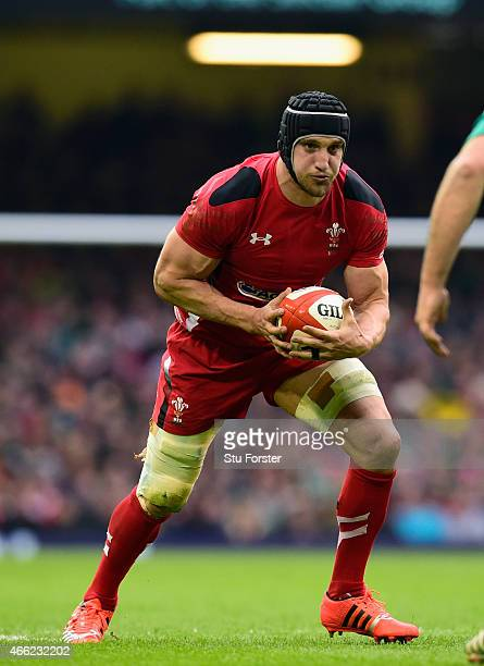Wales captain Sam Warburton in action during the RBS Six Nations match between Wales and Ireland at Millennium Stadium on March 14 2015 in Cardiff...