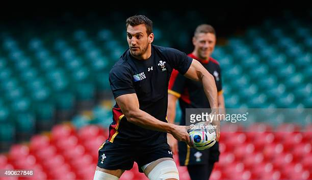 Wales captain Sam Warburton in action during the Wales Captain's Run at the Millennium stadium on September 30 2015 in Cardiff United Kingdom