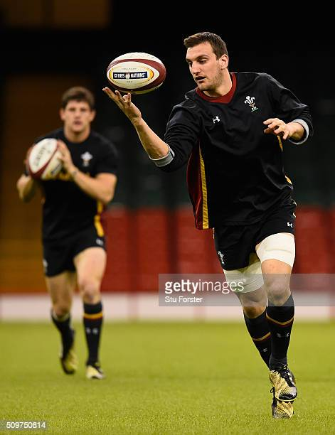 Wales captain Sam Warburton in action during the Wales Captains run ahead of their RBS Six Nations match against Scotland at Principality Stadium on...