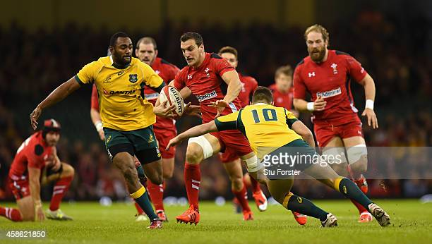 Wales captain Sam Warburton makes a break during the Autumn international match between Wales and Australia at Millennium Stadium on November 8 2014...