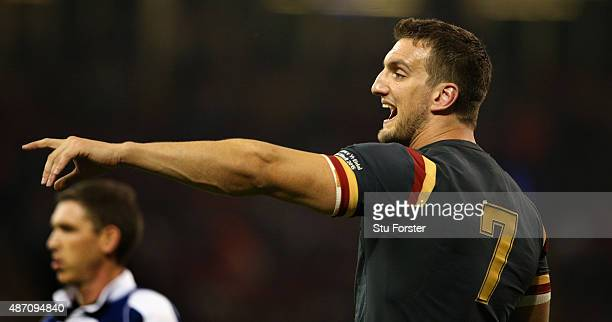 Wales captain Sam Warburton makes a point during the International match between Wales and Ireland at Millennium Stadium on September 5 2015 in...