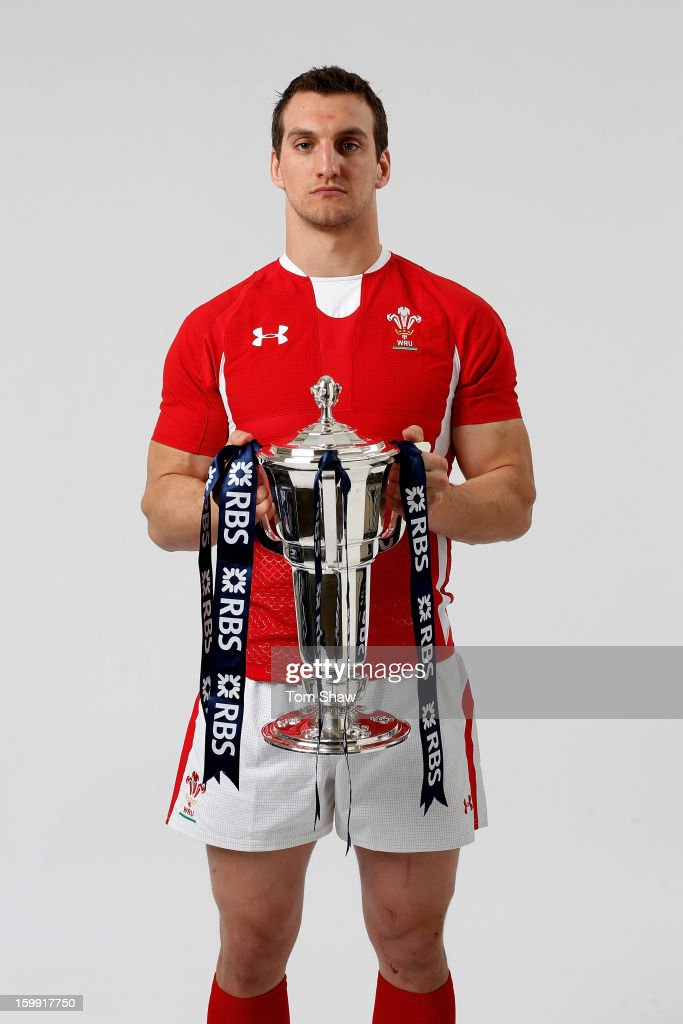 Wales captain Sam Warburton poses with the Six Nations trophy during the RBS Six Nations launch at The Hurlingham Club on January 23, 2013 in London, England.