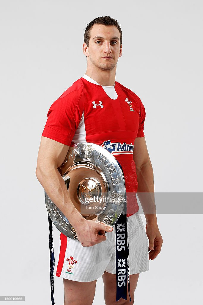 Wales captain Sam Warburton poses with the Triple Crown trophy during the RBS Six Nations launch at The Hurlingham Club on January 23, 2013 in London, England.
