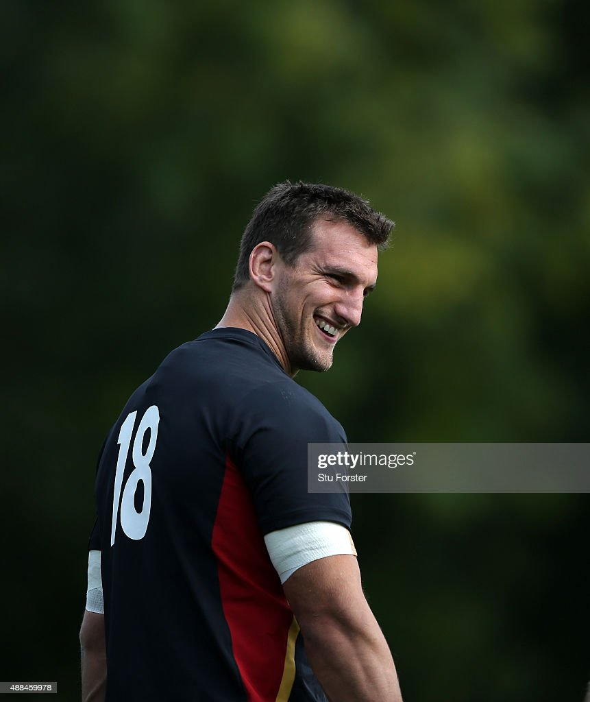 Wales captain <a gi-track='captionPersonalityLinkClicked' href=/galleries/search?phrase=Sam+Warburton&family=editorial&specificpeople=4234449 ng-click='$event.stopPropagation()'>Sam Warburton</a> raises a smile during a Wales training session at the Vale hotel on September 16, 2015 in Cardiff, United Kingdom.