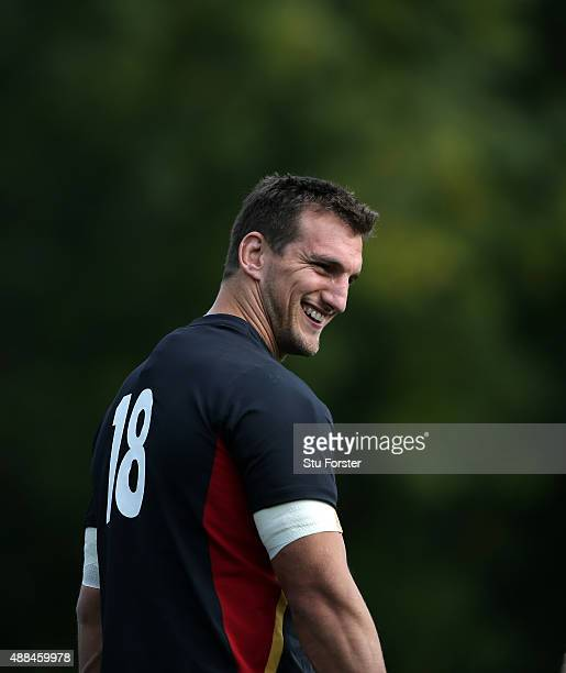 Wales captain Sam Warburton raises a smile during a Wales training session at the Vale hotel on September 16 2015 in Cardiff United Kingdom