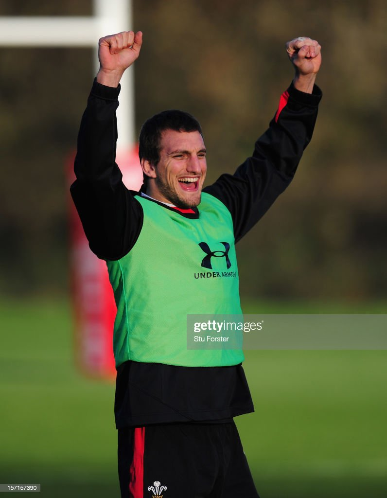 Wales captain <a gi-track='captionPersonalityLinkClicked' href=/galleries/search?phrase=Sam+Warburton+-+Rugby+Player&family=editorial&specificpeople=4234449 ng-click='$event.stopPropagation()'>Sam Warburton</a> raises a smile during Wales training at the Vale on November 29, 2012 in Cardiff, Wales.