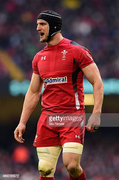 Wales captain Sam Warburton reacts during the RBS Six Nations match between Wales and Ireland at Millennium Stadium on March 14 2015 in Cardiff Wales