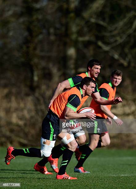 Wales captain Sam Warburton runs with the ball during Wales open training ahead ahead of saturday's RBS Six Nations match against Ireland at the Vale...
