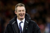 Wales caretaker coach Rob Howley celebrates his team's victory following the final whistle during the RBS Six Nations match between Wales and England...