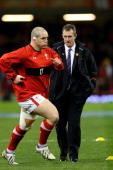 Wales caretaker coach Rob Howley watches over the pre match warm up during the RBS Six Nations match between Wales and England at Millennium Stadium...