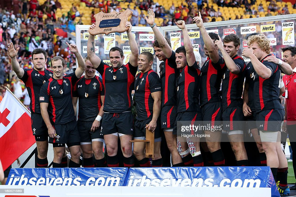 Wales celebrate after winning the shield final during the 2013 Wellington Sevens at Westpac Stadium on February 2, 2013 in Wellington, New Zealand.