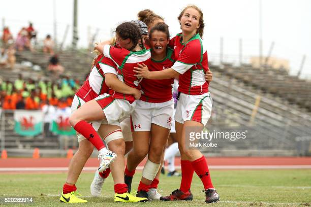 Wales celebrate victory in the girl's rugby 7's bronze medal final match on day 4 of the 2017 Youth Commonwealth Games at QE Sports Centre on July 21...