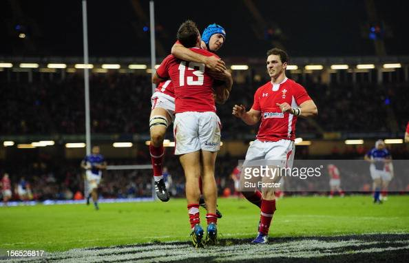 Wales centre Ashley Beck celebrates his try with Justin Tipuric and George North during the International Match between Wales and Samoa at Millennium...