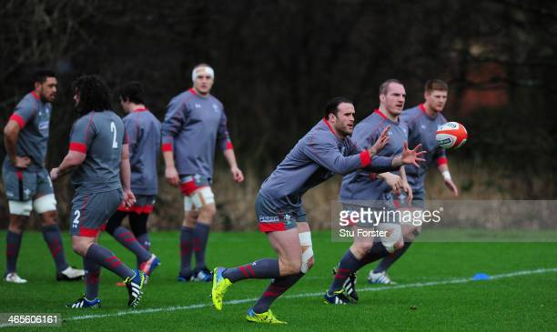 Wales centre Jamie Roberts in action with team mates during Wales training ahead of their RBS Six Nations match against Italy on saturday at the Vale...