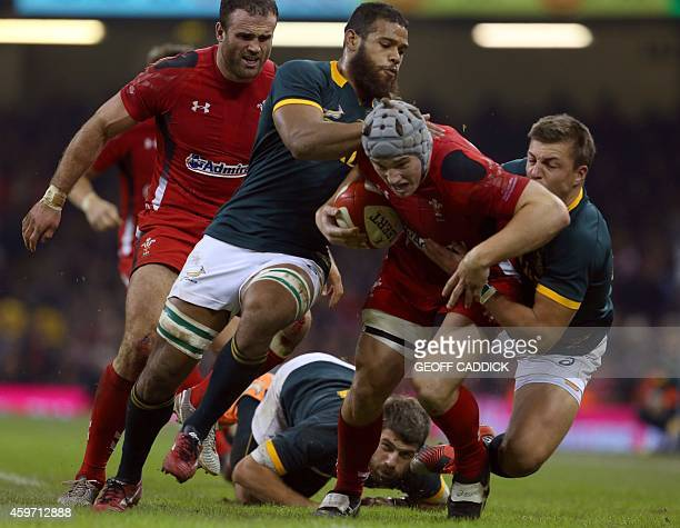 Wales' centre Jonathan Davies is tackled by Nizaam Carr and Handre Pollard of South Africa during the Autumn International rugby union Test match...
