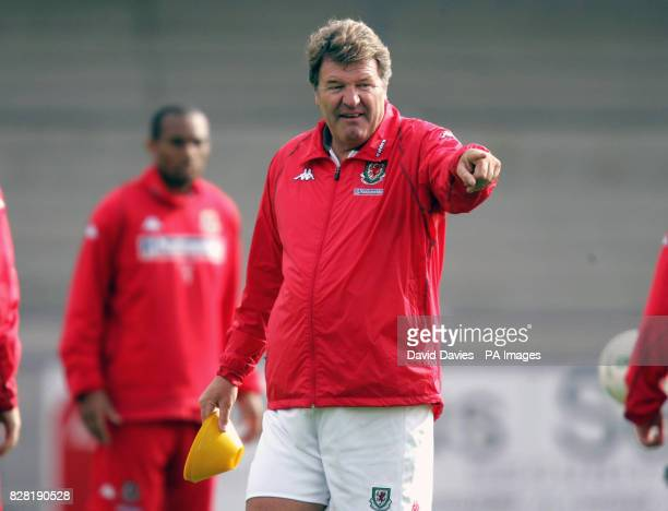 Wales' coach John Toshack instructs his team during a training session at Newport County Ground Tuesday October 4 2005 Wales are to play Northern...