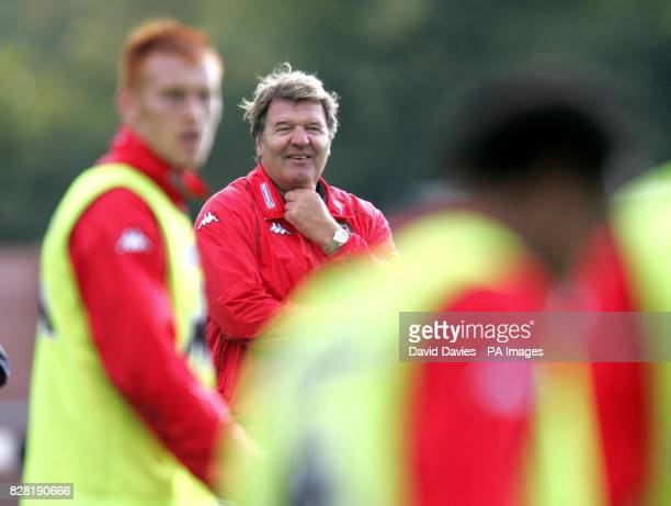 Wales' coach John Toshack with his team during a training session at Newport County Ground Tuesday October 4 2005 Wales are to play Northern Ireland...