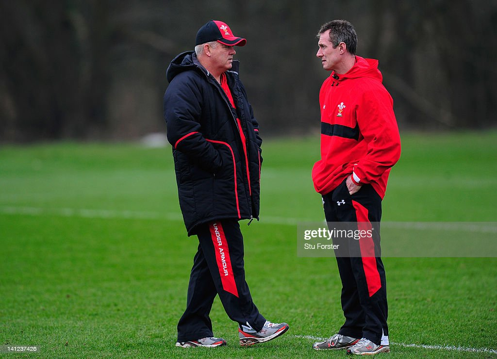 Wales coach Warren Gatland (l) and assistant coach Rob Howley chat during Wales training at the Vale hotel ahead of this saturdays final RBS Six Nations game against France on March 13, 2012 in Cardiff, Wales.