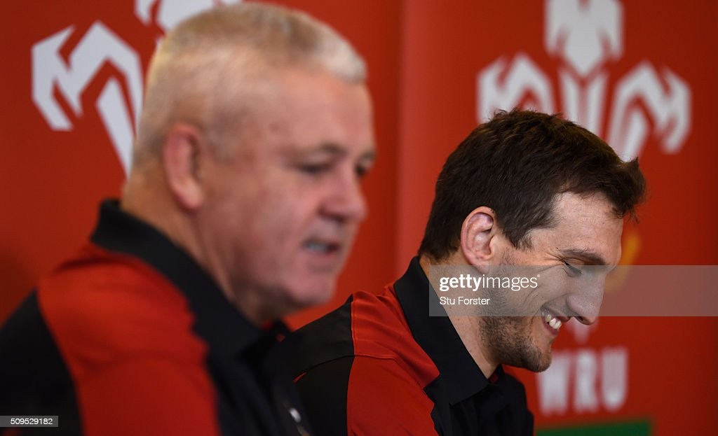 Wales coach Warren Gatland (l) and captain <a gi-track='captionPersonalityLinkClicked' href=/galleries/search?phrase=Sam+Warburton+-+Rugby+Player&family=editorial&specificpeople=4234449 ng-click='$event.stopPropagation()'>Sam Warburton</a> face the media during a Wales Press conference ahead of their RBS Six Nations match against Scotland, at The Vale Hotel on February 11, 2016 in Cardiff, Wales.