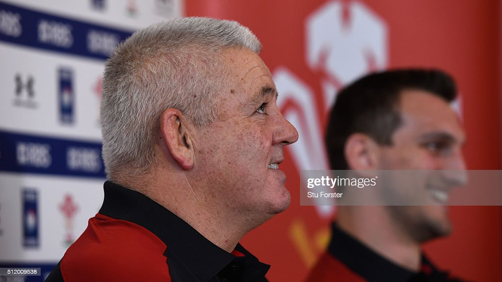 Wales coach Warren Gatland (l) and captain Sam Warburton face the media during a Wales Press conference ahead of their RBS Six Nations match against France, at The Vale Hotel on February 24, 2016 in Cardiff, Wales.