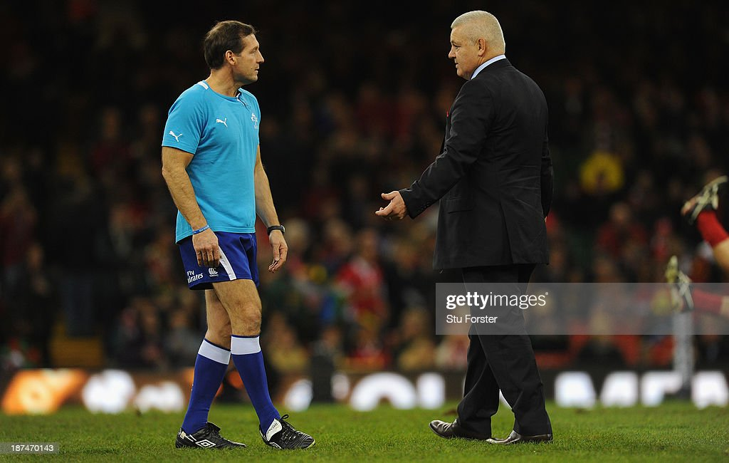 Wales coach <a gi-track='captionPersonalityLinkClicked' href=/galleries/search?phrase=Warren+Gatland&family=editorial&specificpeople=686626 ng-click='$event.stopPropagation()'>Warren Gatland</a> (r) chats with referee Alain Rolland before the International Match between Wales and South Africa at the Millennium Stadium on November 9, 2013 in Cardiff, Wales.
