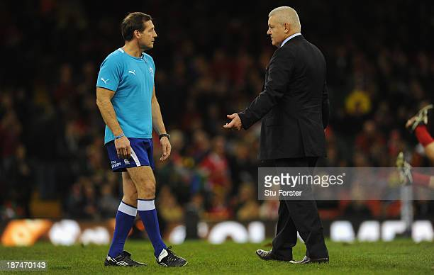 Wales coach Warren Gatland chats with referee Alain Rolland before the International Match between Wales and South Africa at the Millennium Stadium...