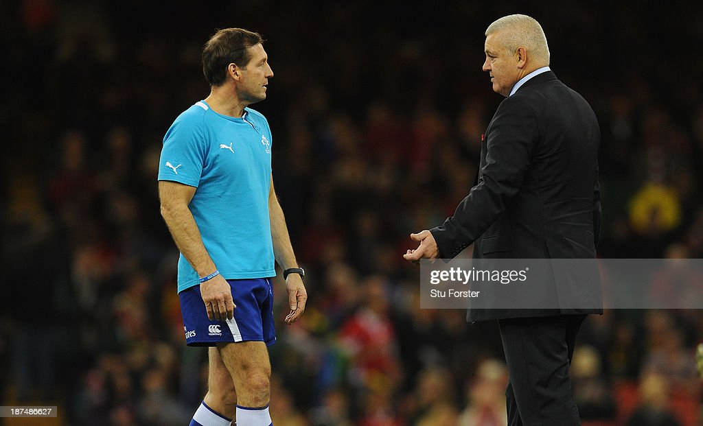 Wales coach Warren Gatland (r) chats with referee Alain Rolland before the International Match between Wales and South Africa at the Millennium Stadium on November 9, 2013 in Cardiff, Wales.