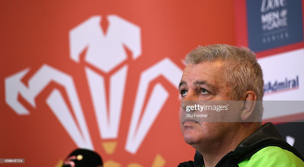 Wales coach Warren Gatland looks on during a Wales press conference at the Vale Hotel on November 27, 2014 in Cardiff, Wales.