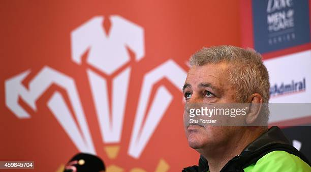 Wales coach Warren Gatland looks on during a Wales press conference at the Vale Hotel on November 27 2014 in Cardiff Wales