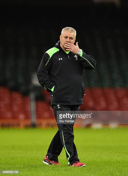 Wales coach Warren Gatland looks on during Wales captains run session ahead of tomorrows match against the New Zealand All Blacks at Millennium...