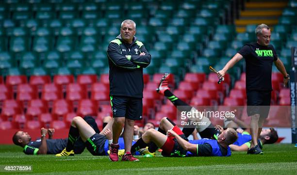 Wales coach Warren Gatland looks on during Wales training ahead of saturday's Rugby World Cup warm up match against Ireland at Millenium Stadium on...
