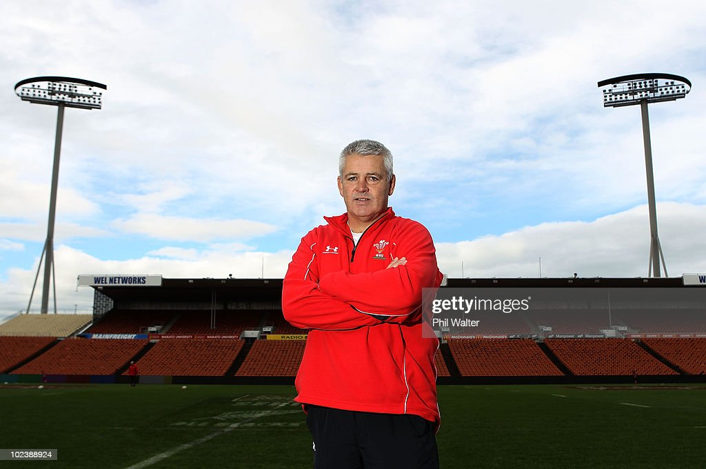 Wales coach Warren Gatland pictured following the Wales Captain's Run at Waikato Stadium on June 25, 2010 in Hamilton, New Zealand.