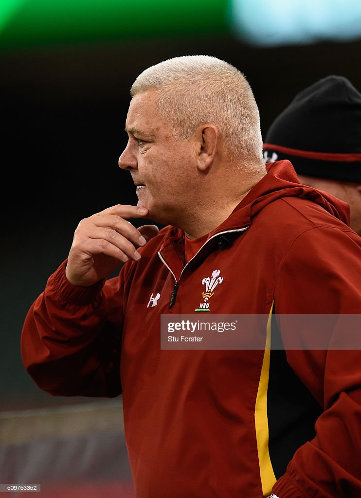 Wales coach <a gi-track='captionPersonalityLinkClicked' href=/galleries/search?phrase=Warren+Gatland&family=editorial&specificpeople=686626 ng-click='$event.stopPropagation()'>Warren Gatland</a> ponders during the Wales Captains run ahead of their RBS Six Nations match against Scotland at Principality Stadium on February 12, 2016 in Cardiff, Wales.