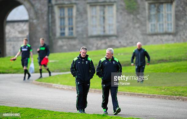 Wales coaches Robert Howley and Warren Gatland chat as they turn up for the Wales open session ahead of Saturday's RBS Six Nations match against...