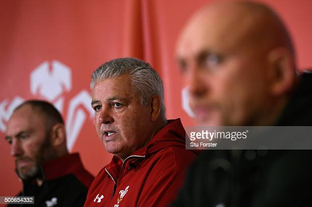 Wales coaches Robin McBryde Warren Gatland and Shaun Edwards face the media at the 2016 RBS Six Nations squad announcement at the Vale hotel on...