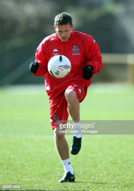 Wales' Craig Bellamy in action during a training session at Jenner Park Barry
