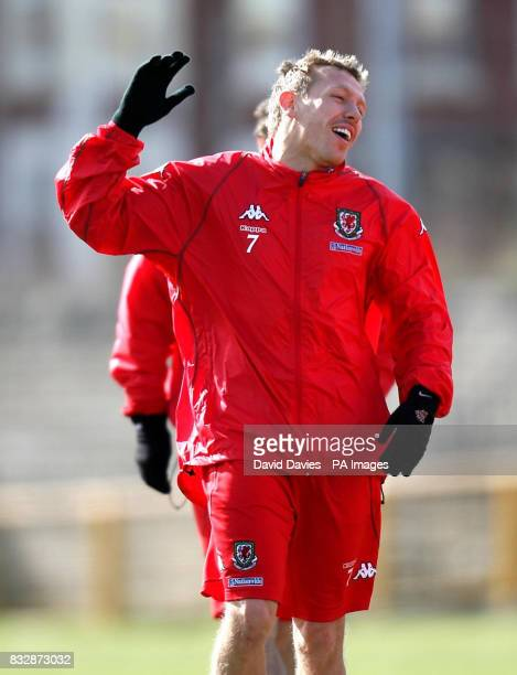 Wales' Craig Bellamy laughs during a training session at Jenner Park Barry