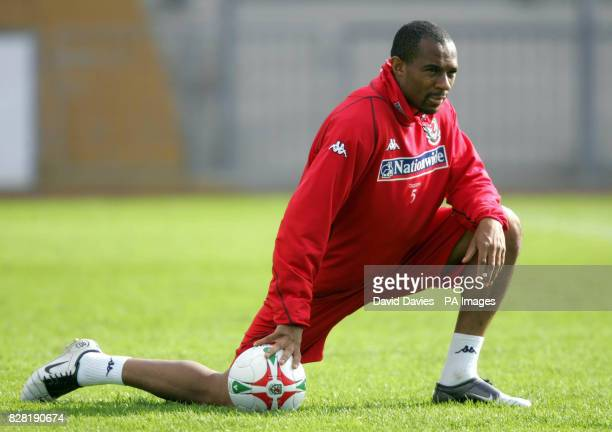 Wales' Daniel Gabbidon during a training session at Newport County Ground Tuesday October 4 2005 Wales are to play Northern Ireland in a World Cup...