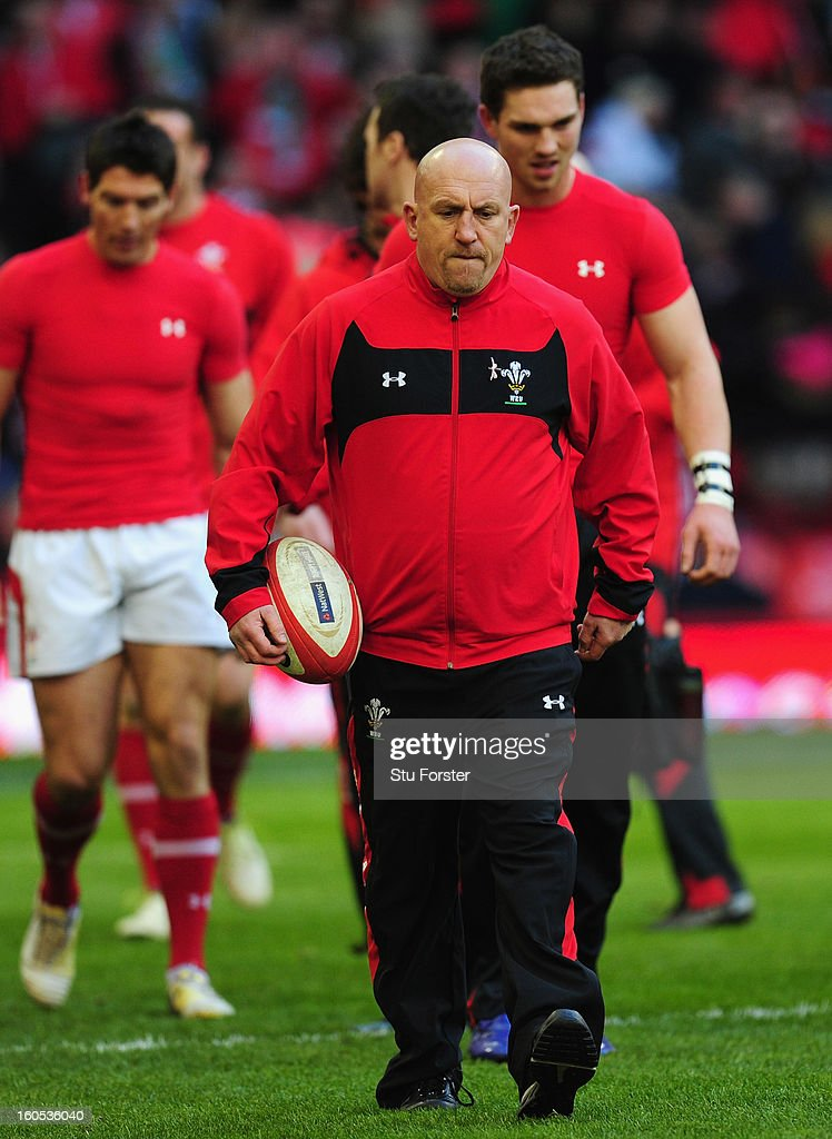 Wales defence coach <a gi-track='captionPersonalityLinkClicked' href=/galleries/search?phrase=Shaun+Edwards+-+Rugby+Player&family=editorial&specificpeople=15368723 ng-click='$event.stopPropagation()'>Shaun Edwards</a> (c) looks on before the RBS Six Nations game between Wales and Ireland at the Millennium Stadium in Cardiff, Wales.