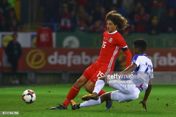 Wales' defender Ethan Ampadu vies with Panama's midfielder Ricardo Avila during the international friendly football match between Wales and Panama at...