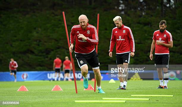 Wales defender James Collins in action during Wales training at their Euro 2016 base camp ahead of their Quarter Final match against Belguim on June...