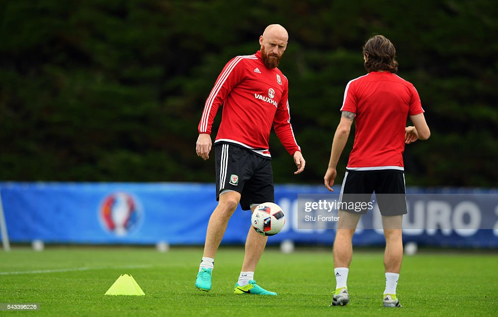 Wales defender <a gi-track='captionPersonalityLinkClicked' href=/galleries/search?phrase=James+Collins+-+Welsh+Soccer+Player&family=editorial&specificpeople=15167252 ng-click='$event.stopPropagation()'>James Collins</a> (l) in action during Wales training at their Euro 2016 base camp ahead of their Quarter Final match against Belguim, on June 28, 2016 in Dinard, France.