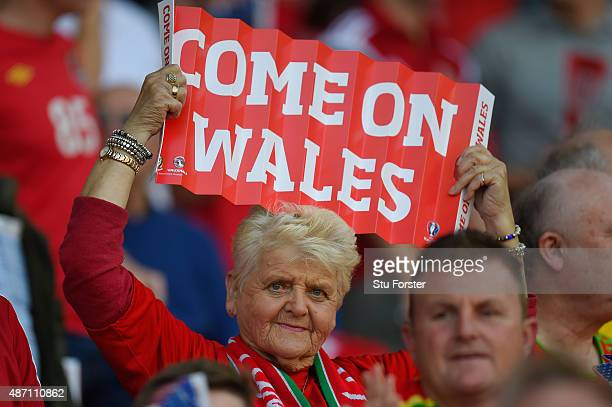 Wales fan cheers on her team during the UEFA EURO 2016 group B qualifying match between Wales and Israel at Cardiff City Stadium on September 6 2015...