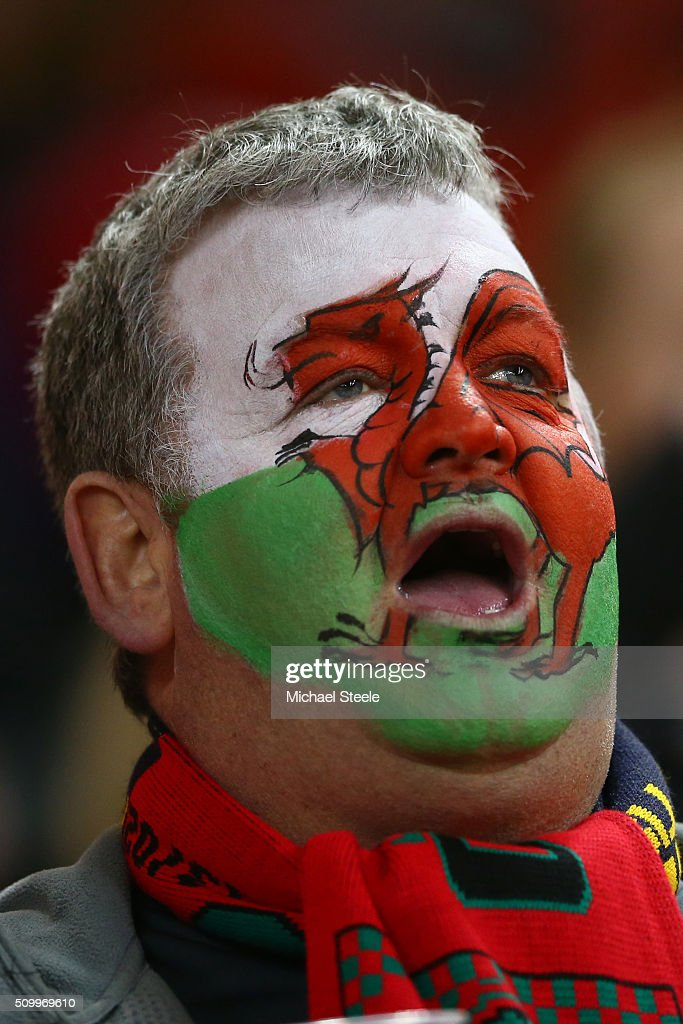 A Wales fan enjoys the pre match atmosphere during the RBS Six Nations match between Wales and Scotland at the Principality Stadium on February 13, 2016 in Cardiff, Wales.