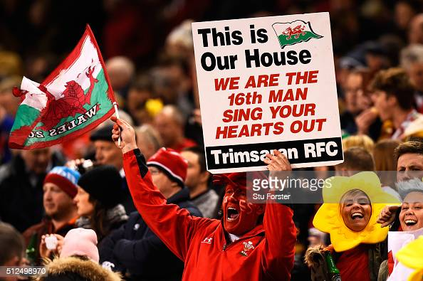Wales fan enjoys the pre match atmosphere during the RBS Six Nations match between Wales and France at the Principality Stadium on February 26 2016...