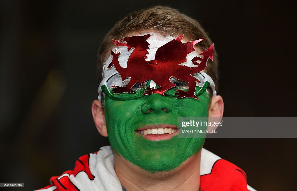 A Wales fan poses during the third rugby Test match between the New Zealand All Blacks and Wales at Forsyth Barr Stadium in Dunedin on June 25, 2016. / AFP / Marty Melville