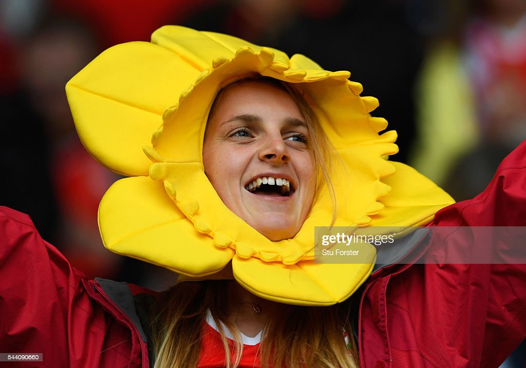 A Wales fan shows the support prior to the UEFA EURO 2016 quarter final match between Wales and Belgium at Stade Pierre-Mauroy on July 1, 2016 in Lille, France.
