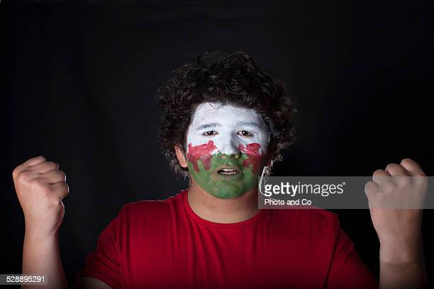 wales fan with painted face