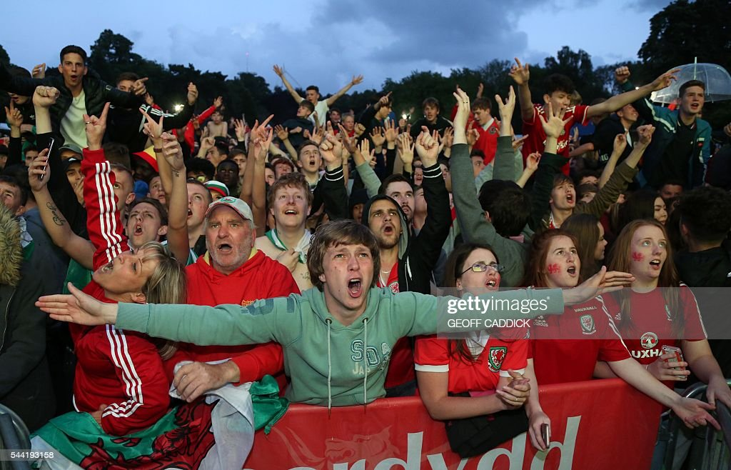 Wales fans celebrate after Wales score their third goal at a screening of the Euro 2016 quarter final match between Wales and Belgium at the fan zone in Cardiff, south Wales on July 1, 2016. / AFP / Geoff CADDICK