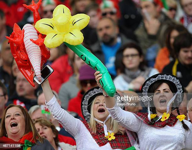 Wales fans celebrate during the RBS Six Nations match between Italy and Wales at Stadio Olimpico on March 21 2015 in Rome Italy